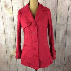 Jou Jou Red Button Front Trench Coat Sz M